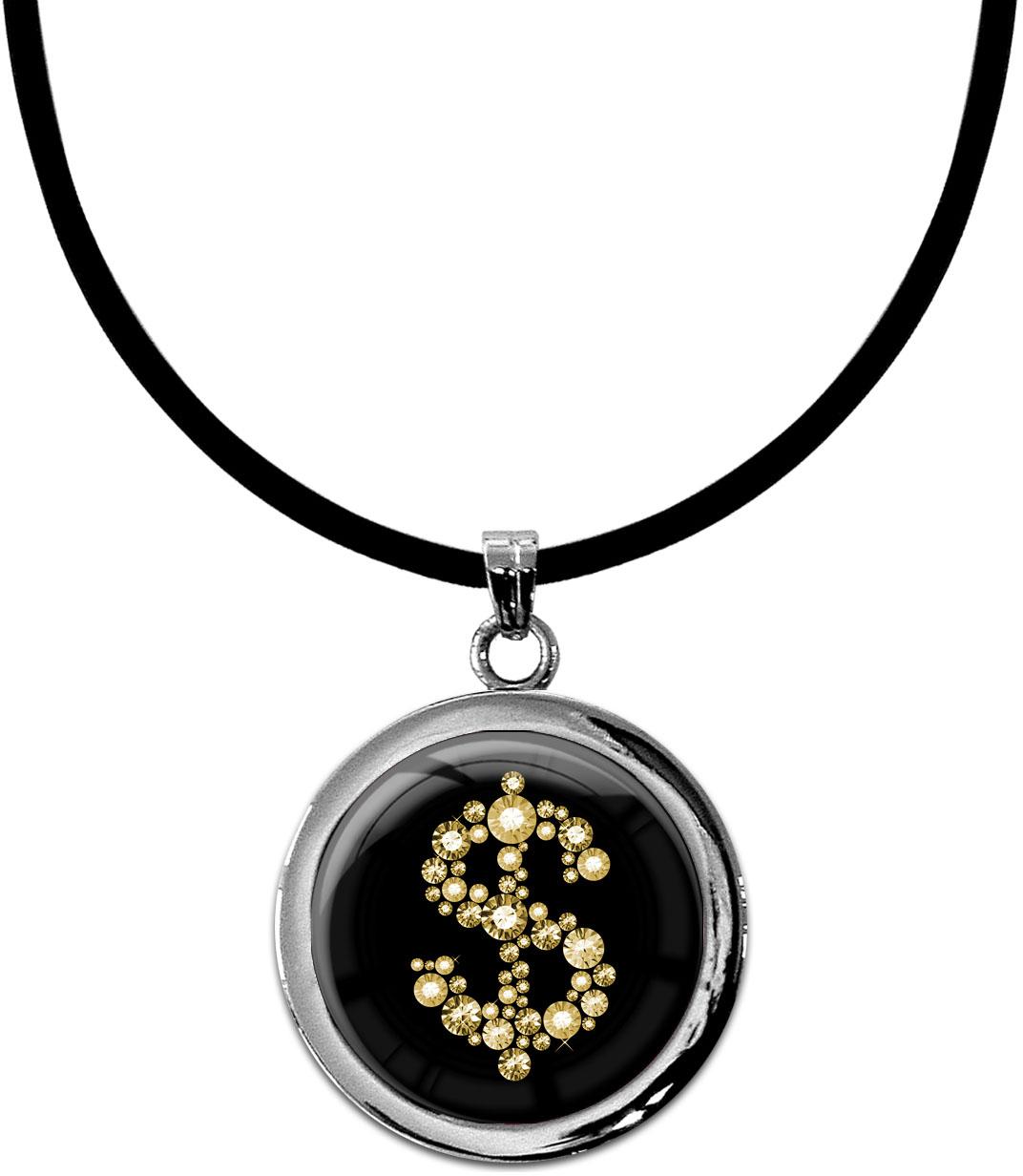 """metALUm Kettenanhänger in runder Form """"Dollarzeichen in Gold"""""""