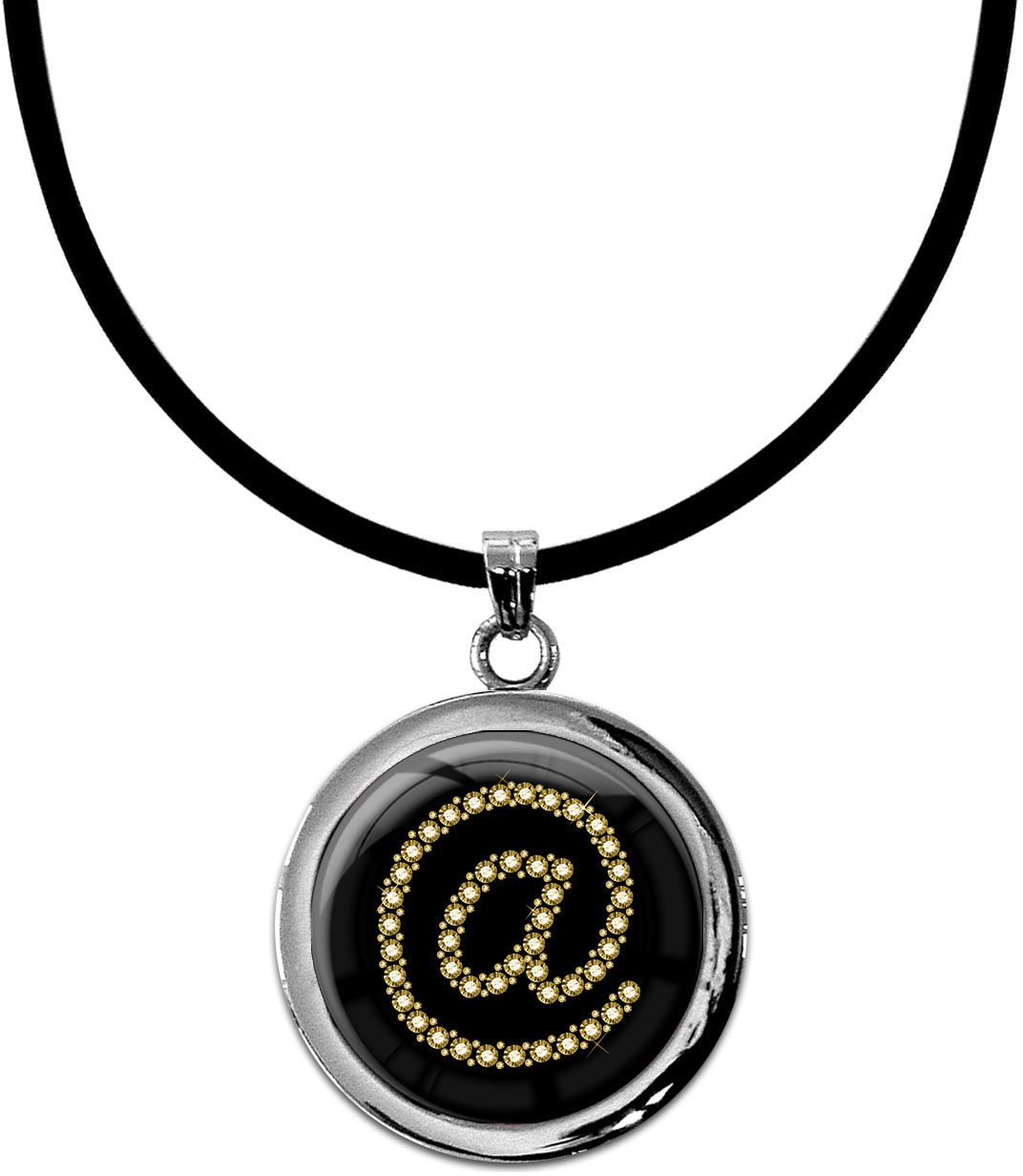 "metALUm Kettenanhänger in runder Form ""At Symbol in Gold"""