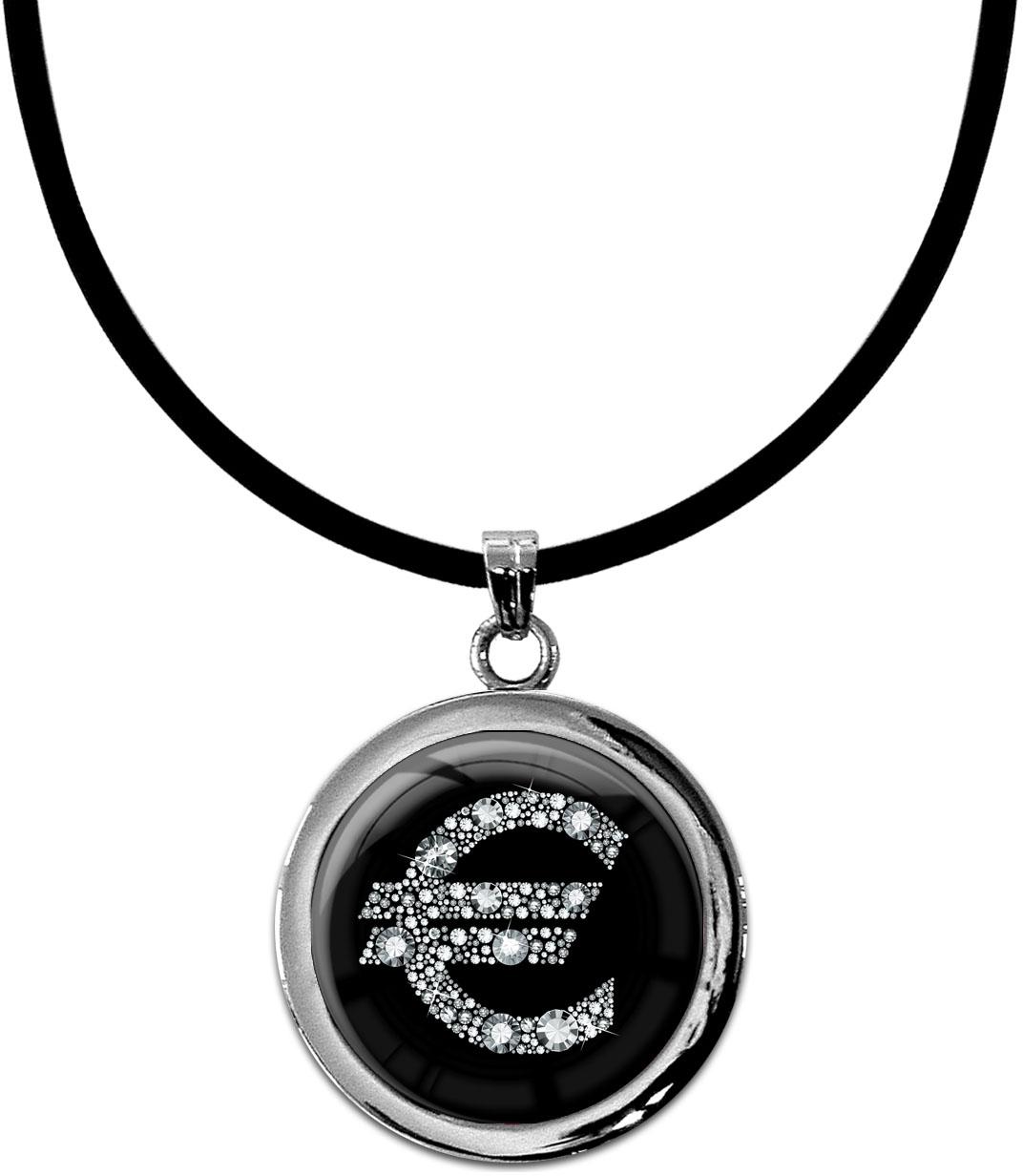 """metALUm Kettenanhänger in runder Form """"Eurozeichen in Silber"""""""