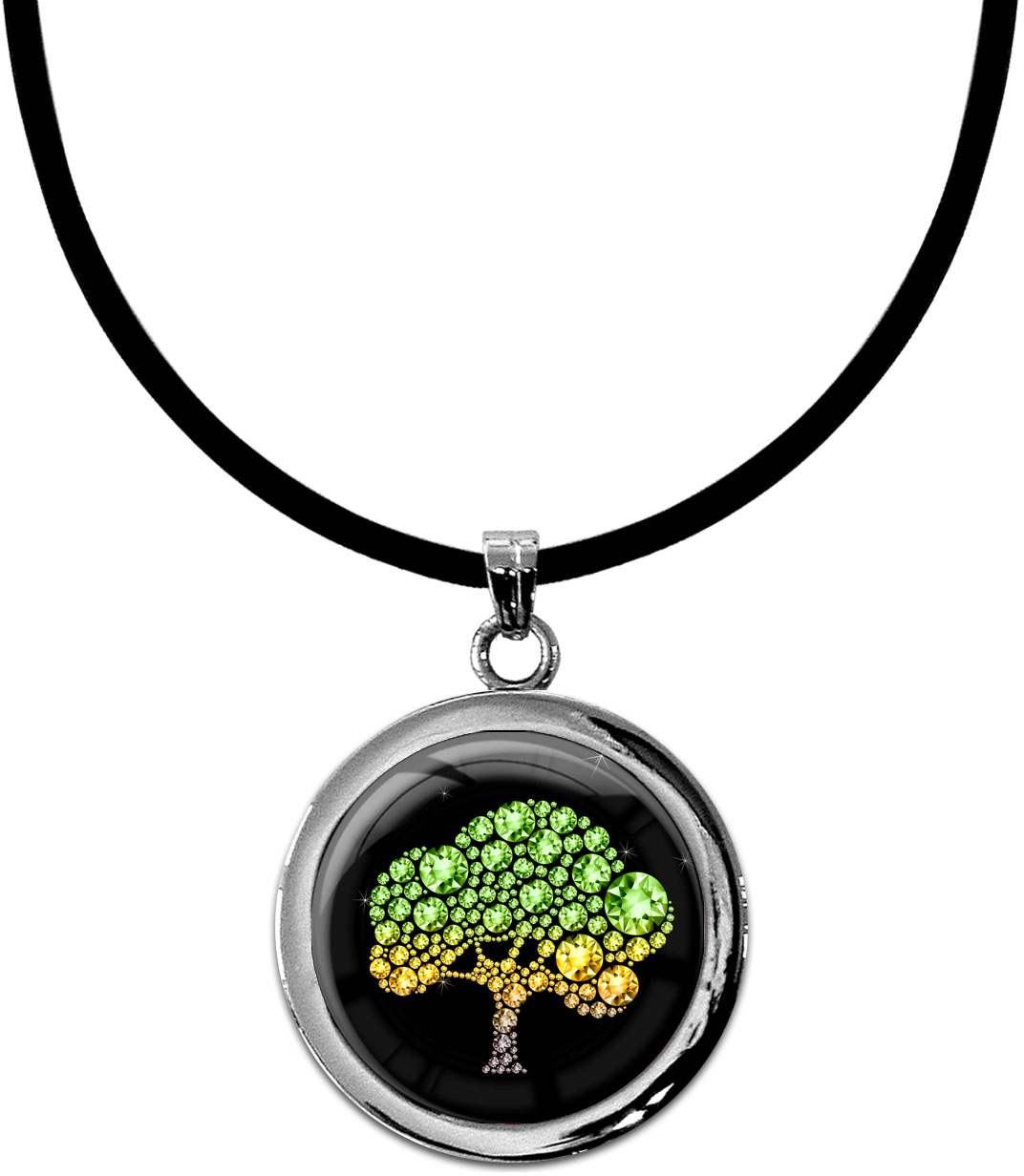 """metALUm Kettenanhänger in runder Form """"Baum"""""""