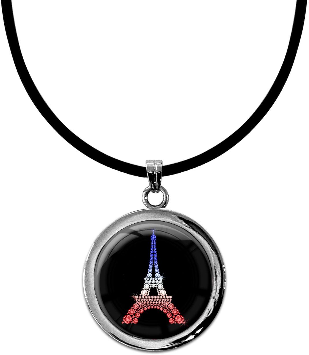 "metALUm Kettenanhänger in runder Form ""Eiffelturm Tricolore"""