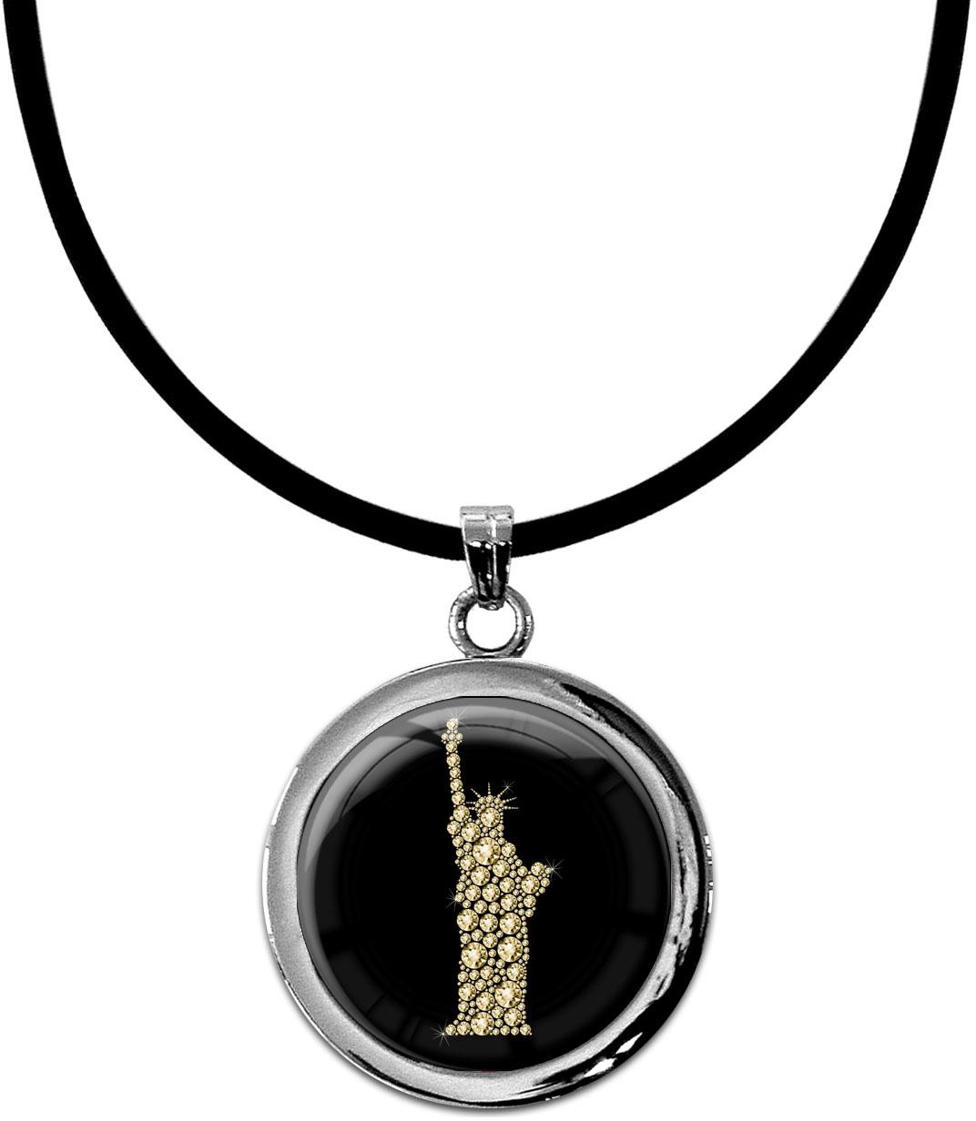 """metALUm Kettenanhänger in runder Form """"Freiheitsstatue in Gold"""""""