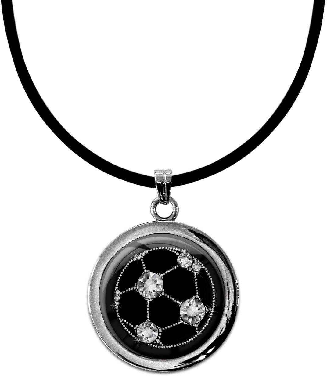 """metALUm Kettenanhänger in runder Form """"Fussball in Silber"""""""