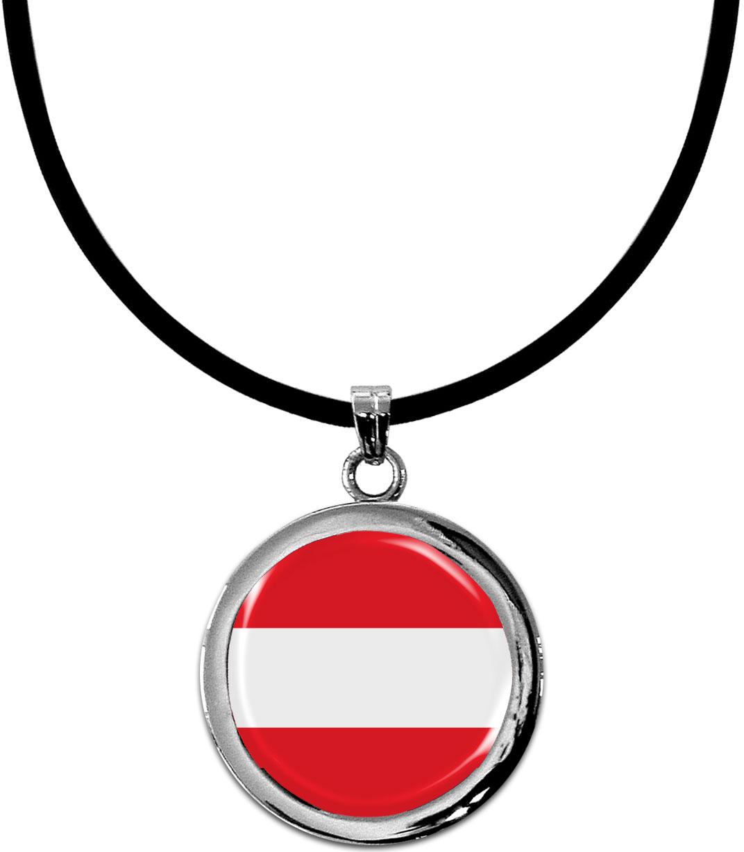 Kettenanhänger / Österreich / Silikonband mit Silberverschluss