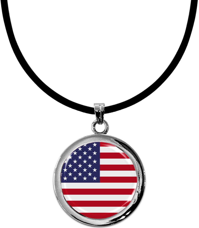 Kettenanhänger / USA / Silikonband mit Silberverschluss