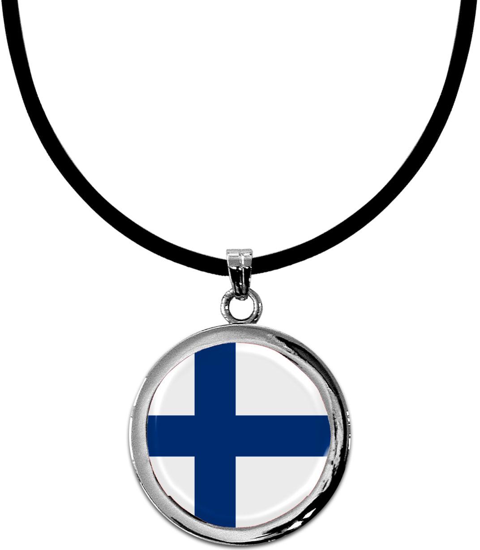 Kettenanhänger / Finnland / Silikonband mit Silberverschluss