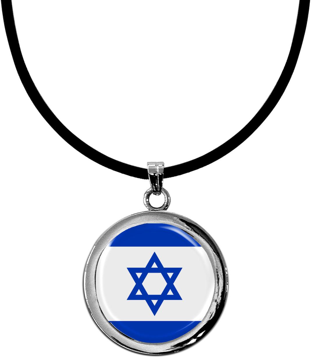 Kettenanhänger / Israel / Silikonband mit Silberverschluss