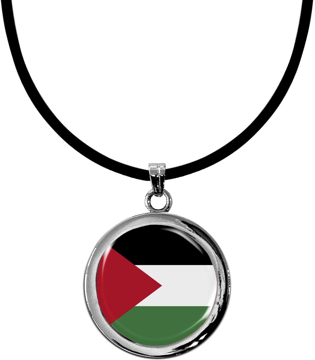 Kettenanhänger / Palästina / Silikonband mit Silberverschluss