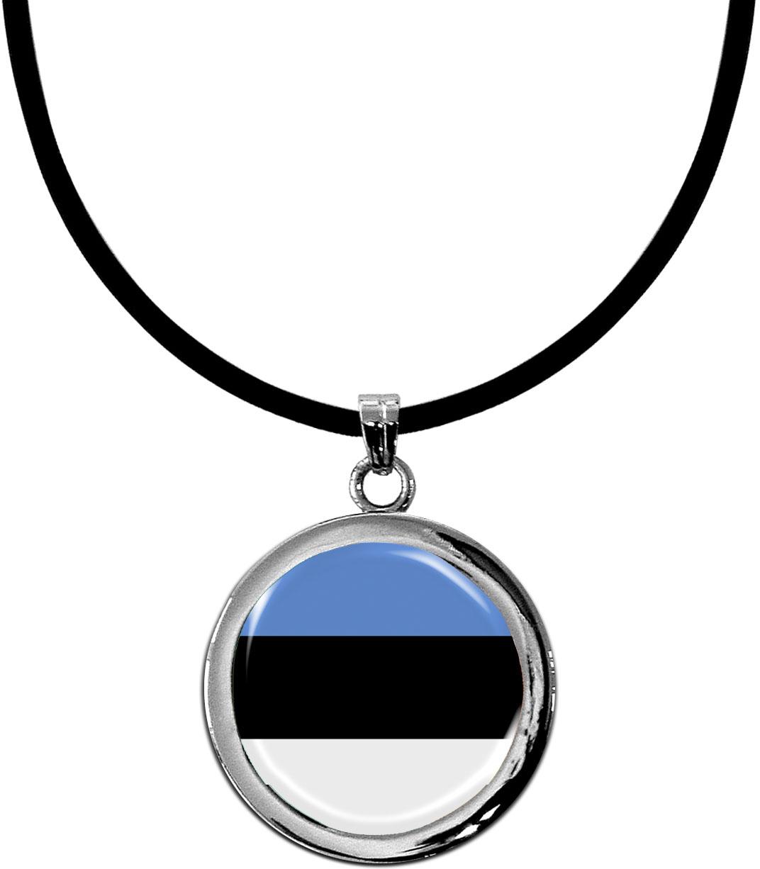 Kettenanhänger / Estland / Silikonband mit Silberverschluss