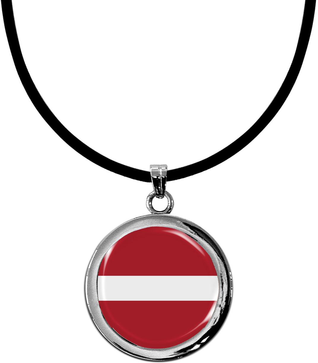 Kettenanhänger / Lettland / Silikonband mit Silberverschluss
