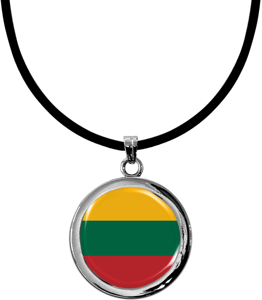 Kettenanhänger / Litauen / Silikonband mit Silberverschluss