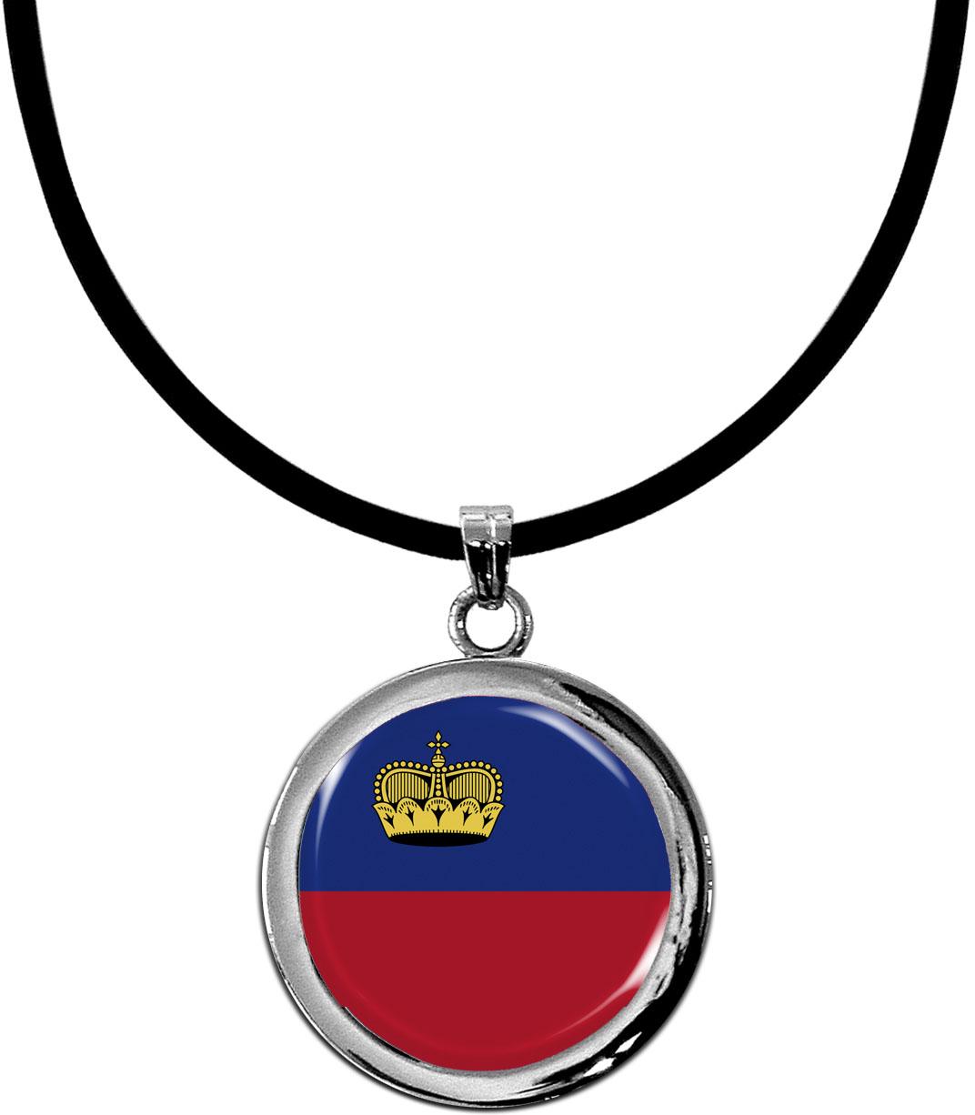 Kettenanhänger / Liechtenstein / Silikonband mit Silberverschluss
