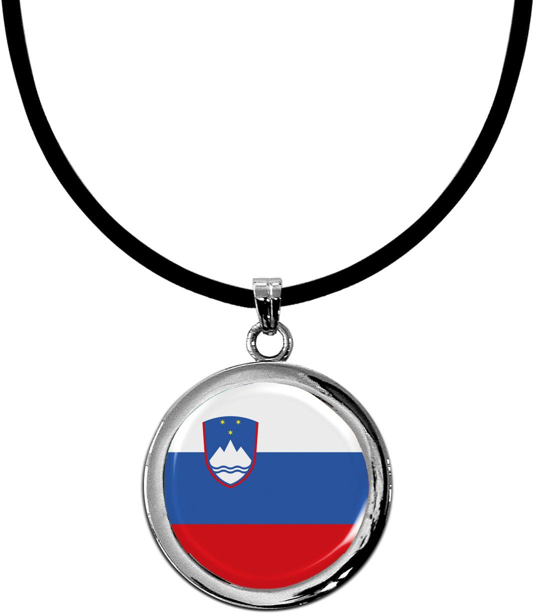 Kettenanhänger / Slowenien / Silikonband mit Silberverschluss