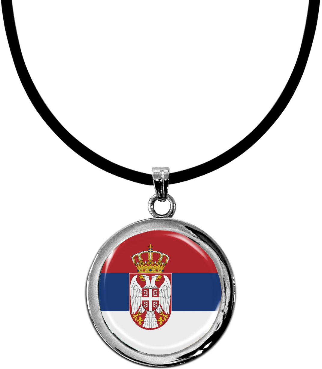 Kettenanhänger / Serbien / Silikonband mit Silberverschluss