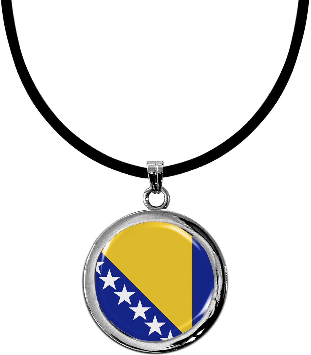 Kettenanhänger / Bosnien - Herzegowina / Silikonband mit Silberverschluss