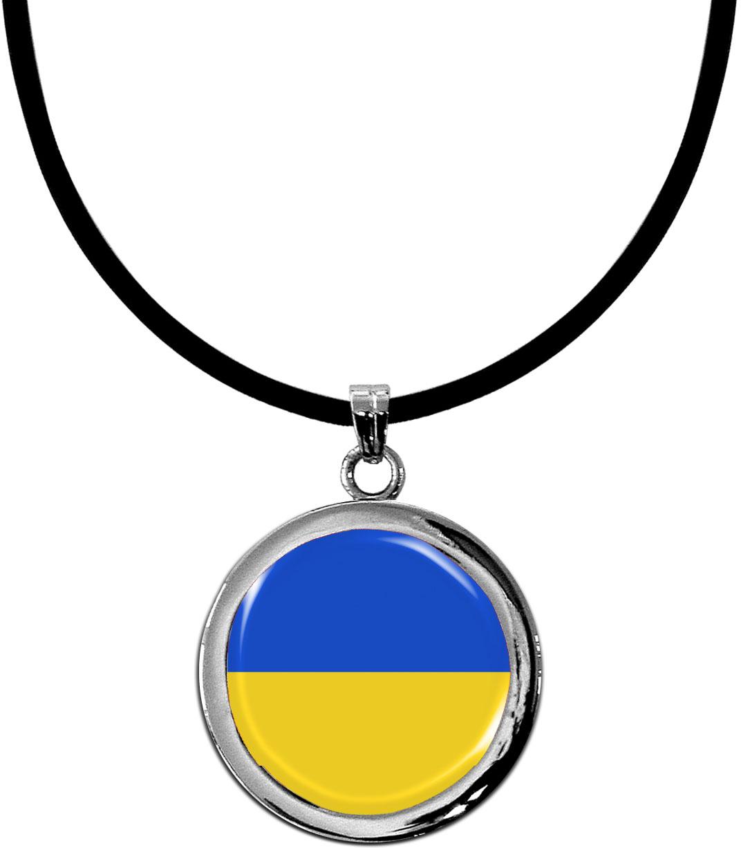 Kettenanhänger / Ukraine / Silikonband mit Silberverschluss