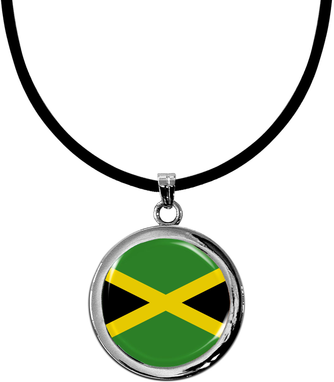 Kettenanhänger / Jamaika / Silikonband mit Silberverschluss