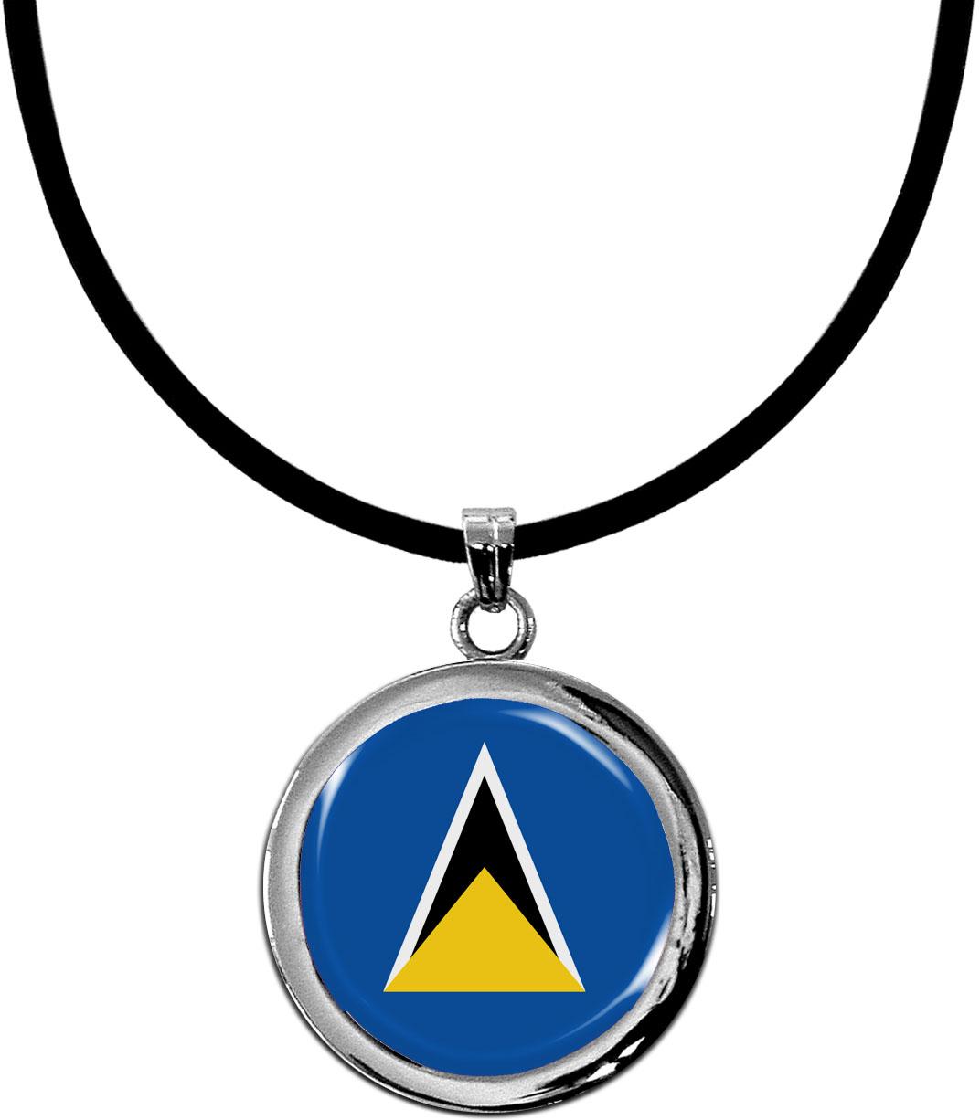 Kettenanhänger / St. Lucia / Silikonband mit Silberverschluss