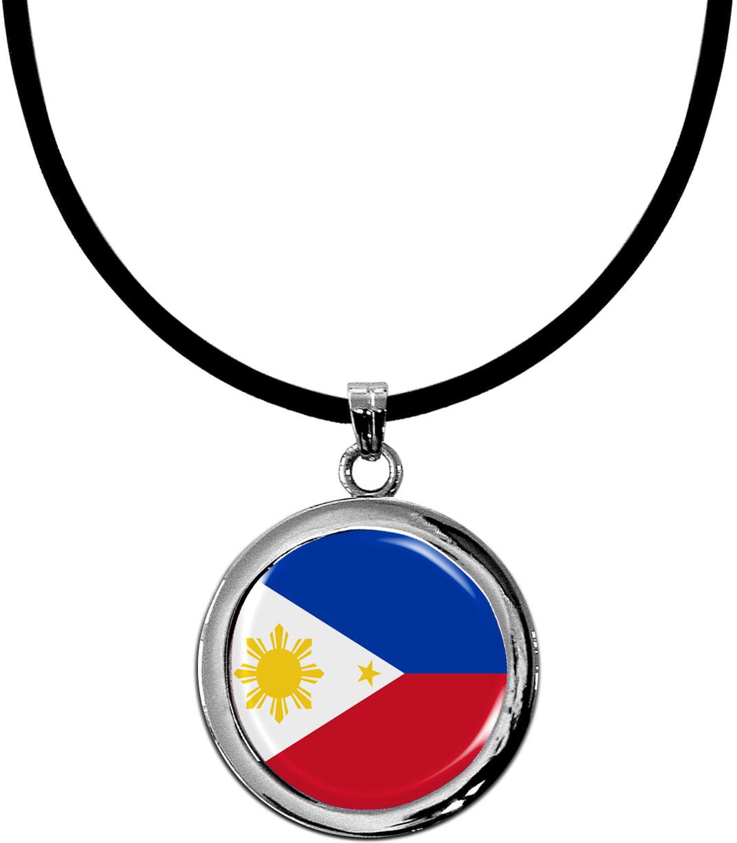 Kettenanhänger / Philippinen / Silikonband mit Silberverschluss
