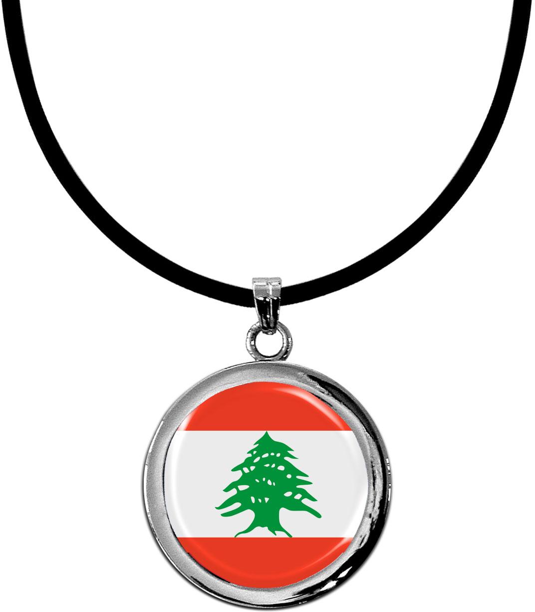 Kettenanhänger / Libanon / Silikonband mit Silberverschluss