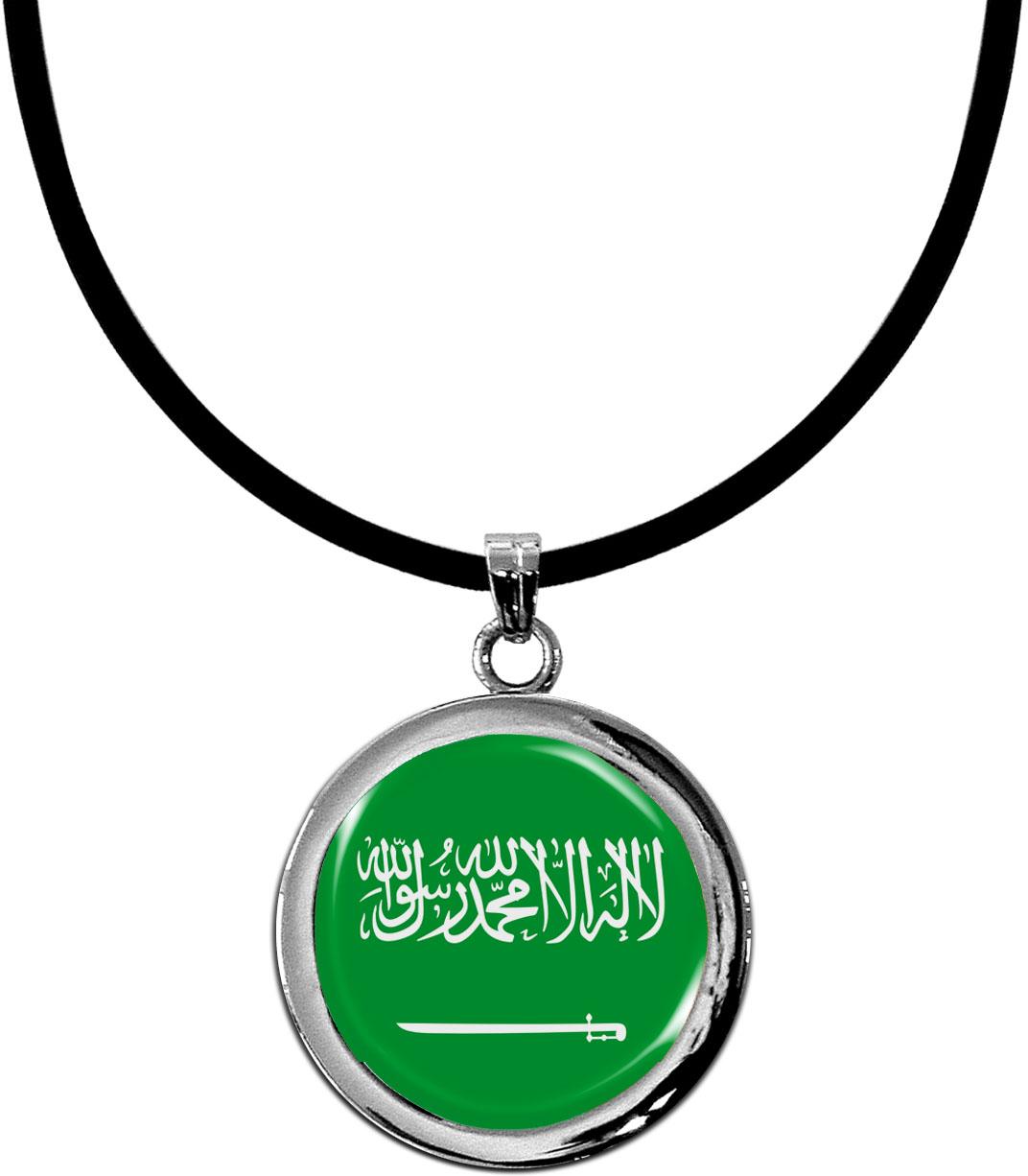 Kettenanhänger / Saudi Arabien / Silikonband mit Silberverschluss