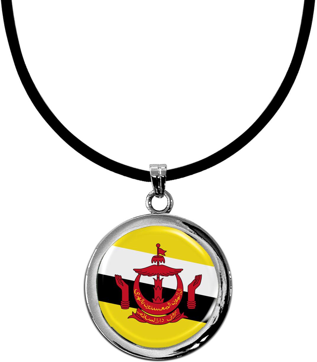 Kettenanhänger / Brunei Darussalam / Silikonband mit Silberverschluss