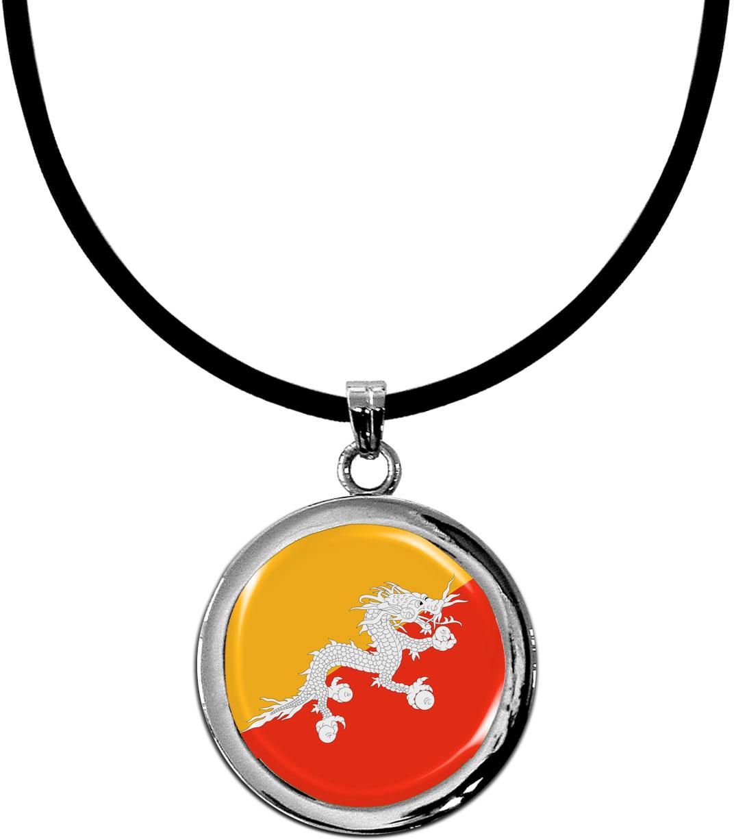Kettenanhänger / Bhutan / Silikonband mit Silberverschluss
