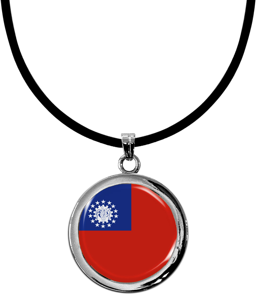 Kettenanhänger / Myanmar / Silikonband mit Silberverschluss