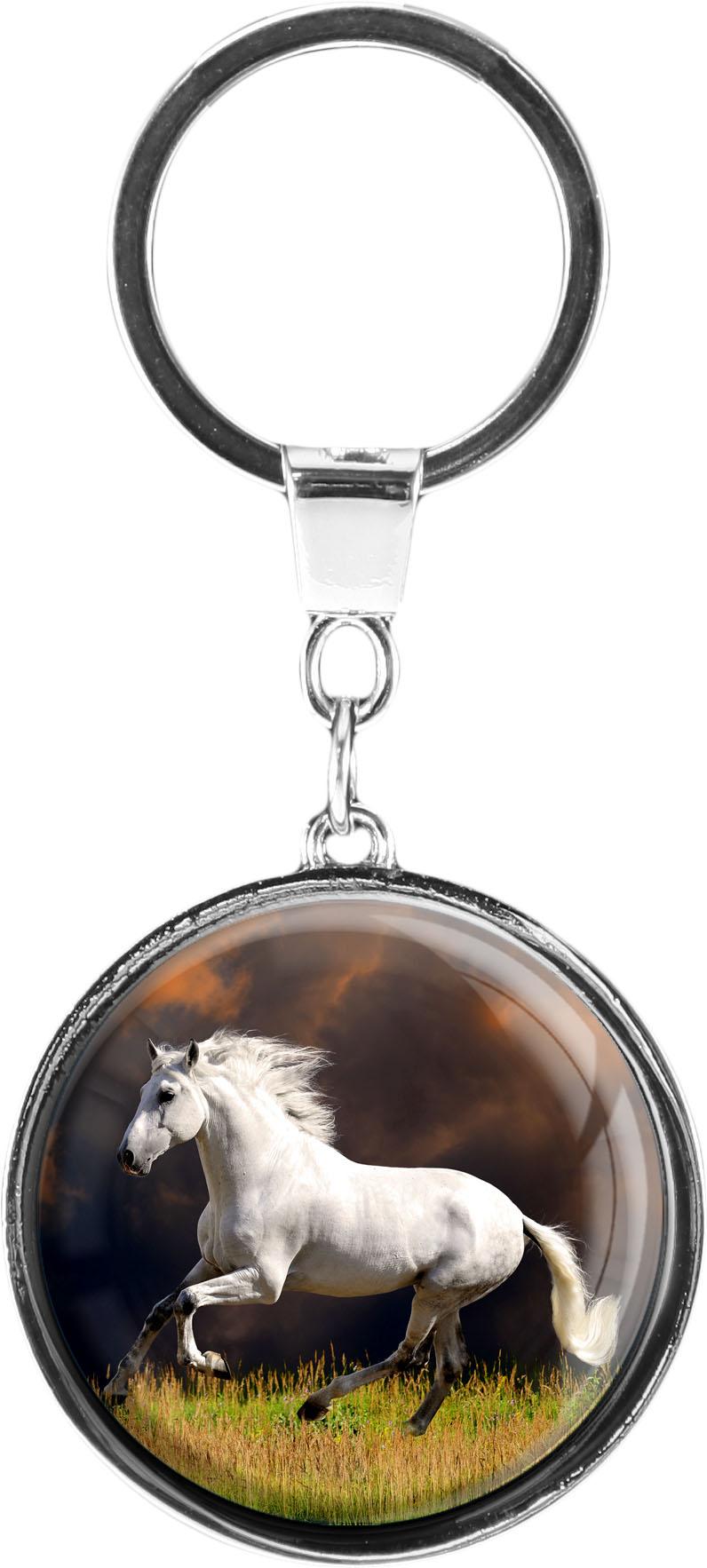 """metALUm Schlüsselanhänger in runder Form """"Weißes Pferd"""""""
