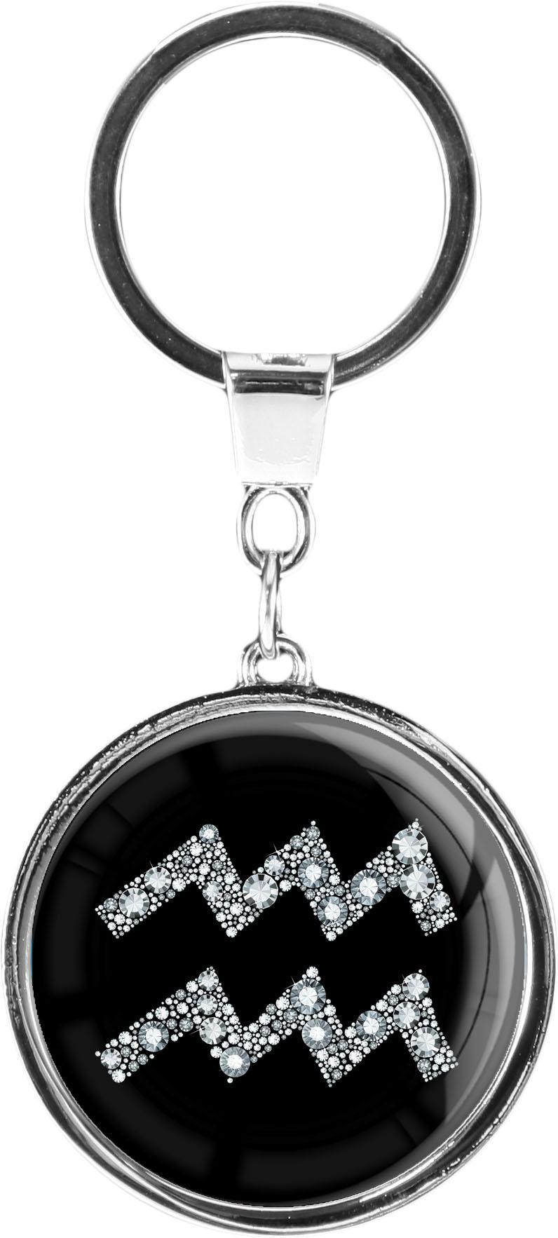 """metALUm Schlüsselanhänger in runder Form """"Sternzeichen Wassermann in Silber"""""""
