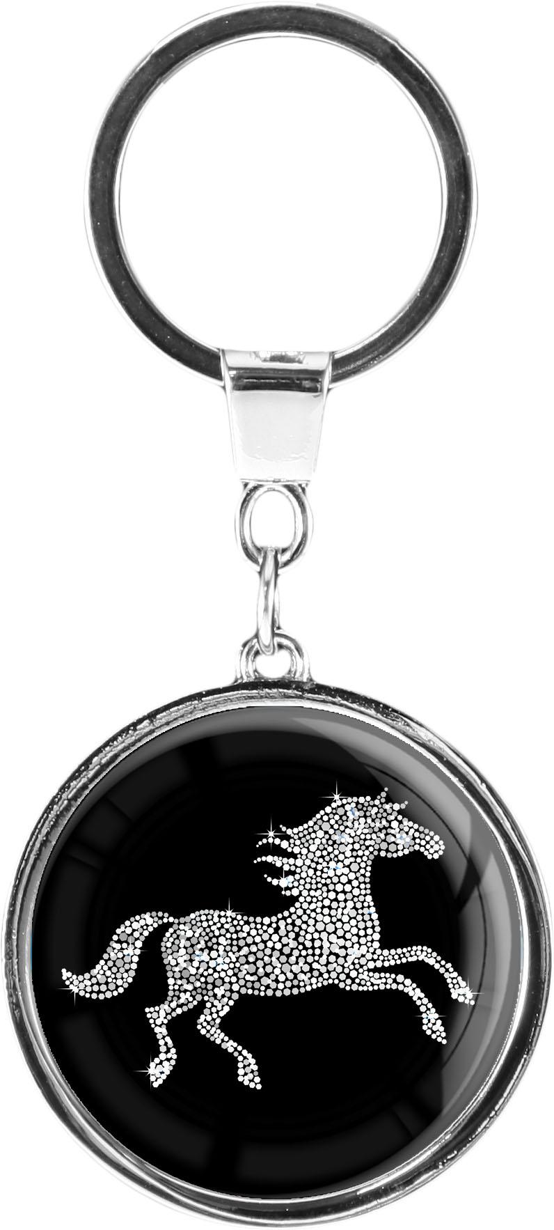 """metALUm Schlüsselanhänger in runder Form """"Pferd in Silber"""""""