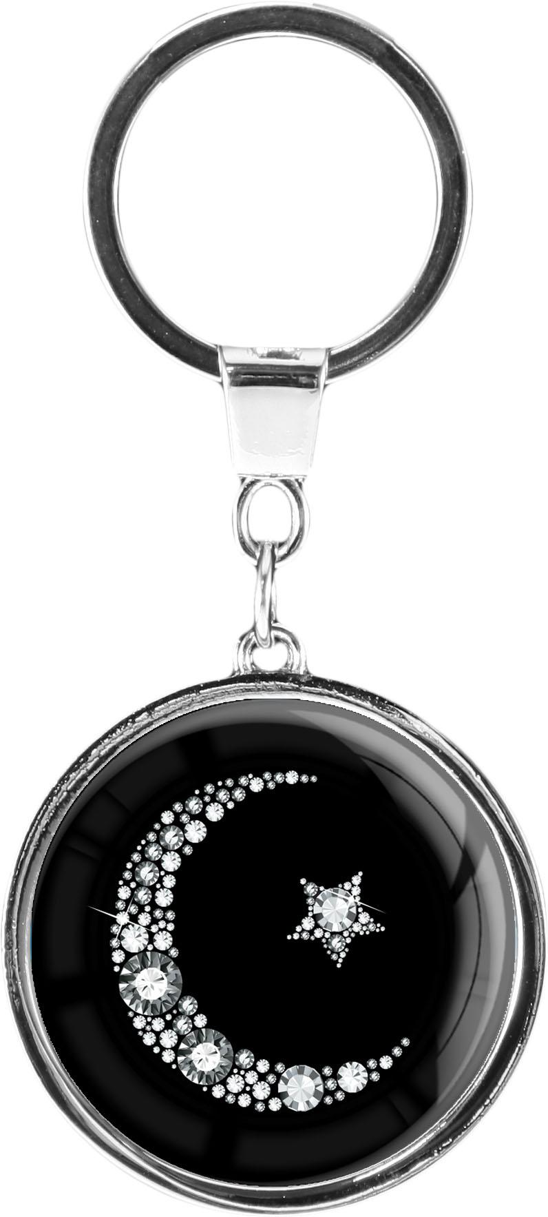 """metALUm Schlüsselanhänger in runder Form """"Islamischer Mond in Silber"""""""