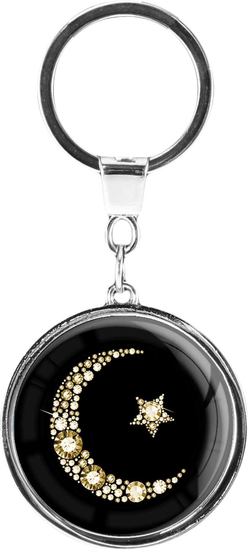 """metALUm Schlüsselanhänger in runder Form """"Islamischer Mond in Gold"""""""