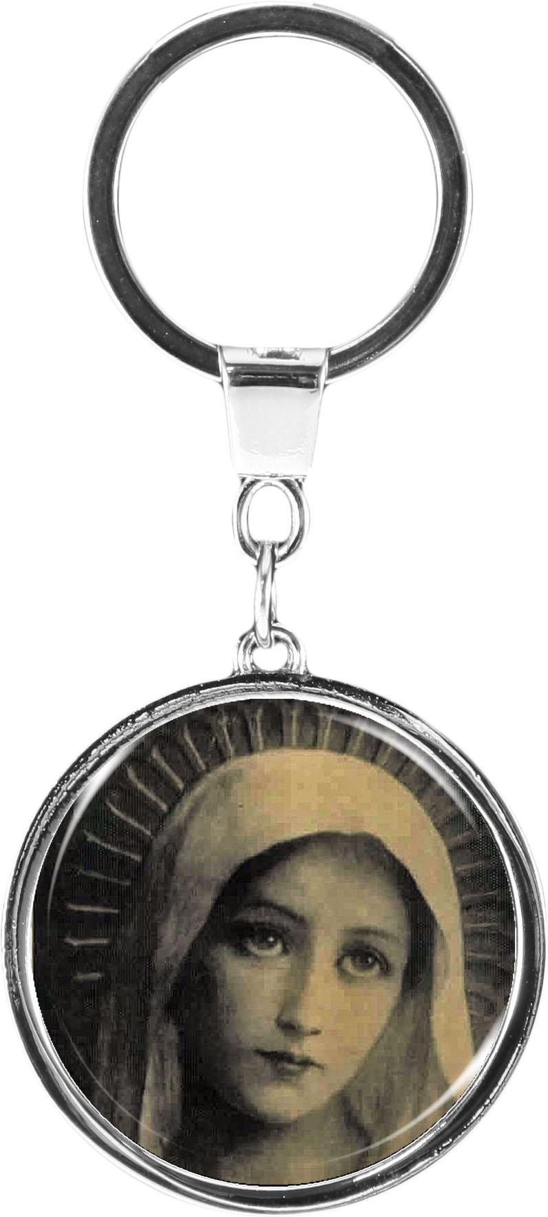"""metALUm Schlüsselanhänger in runder Form """"Jungfrau Maria"""""""