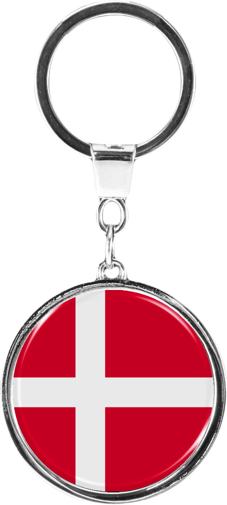 "metALUm Schlüsselanhänger in runder Form ""Flagge Dänemark,"""