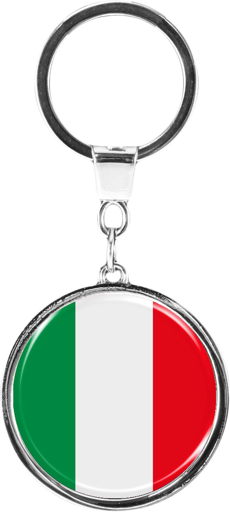 "metALUm Schlüsselanhänger in runder Form ""Flagge Italien"""