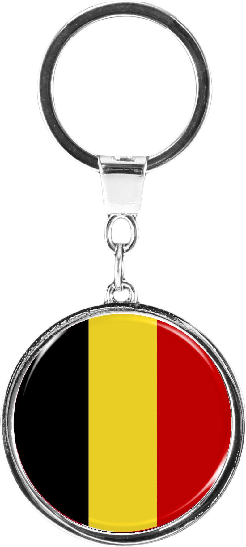 "metALUm Schlüsselanhänger in runder Form ""Flagge Belgien"""