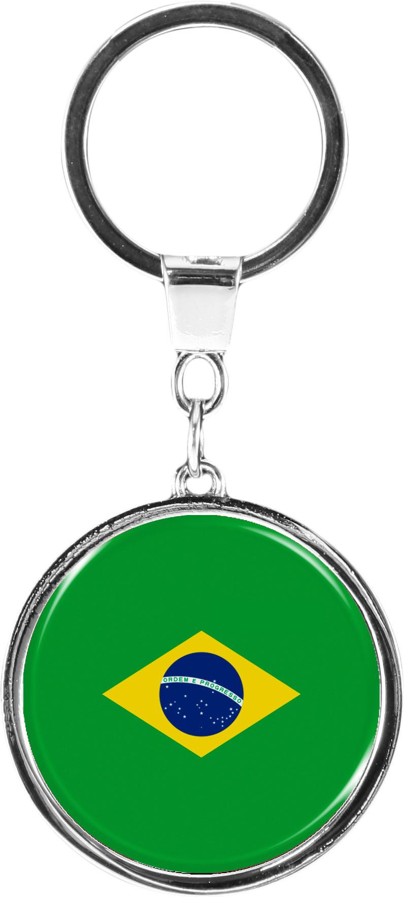 """metALUm Schlüsselanhänger in runder Form """"Flagge Brasilien"""""""