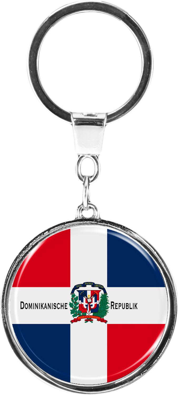 """metALUm Schlüsselanhänger in runder Form """"Flagge Dominikanische Republik"""""""