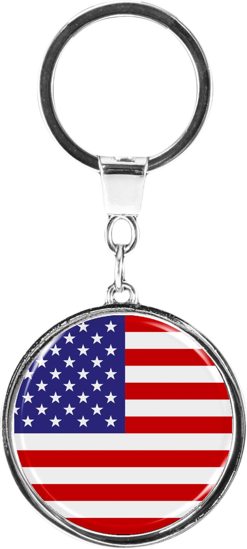 """metALUm Schlüsselanhänger in runder Form """"Flagge USA"""""""