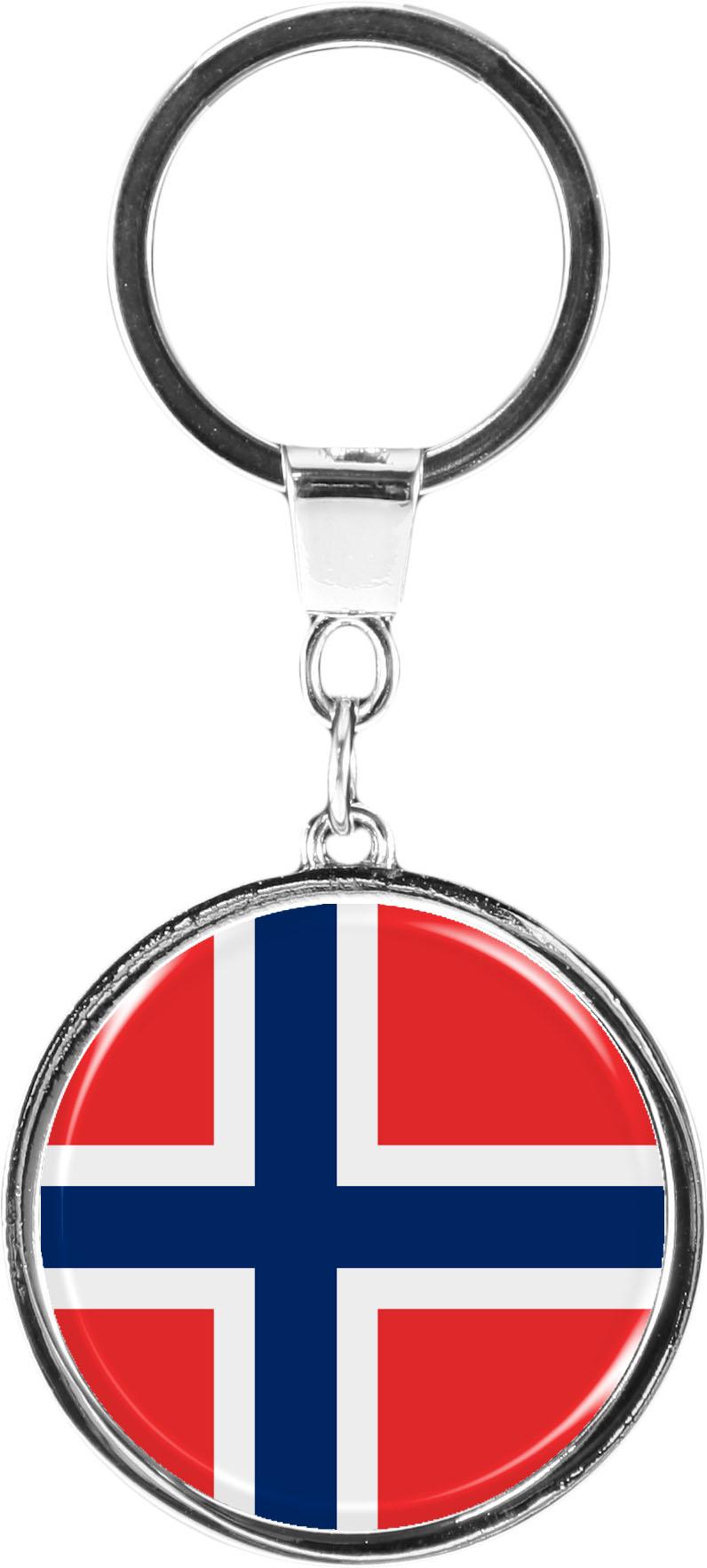 "metALUm Schlüsselanhänger in runder Form ""Flagge Norwegen"""