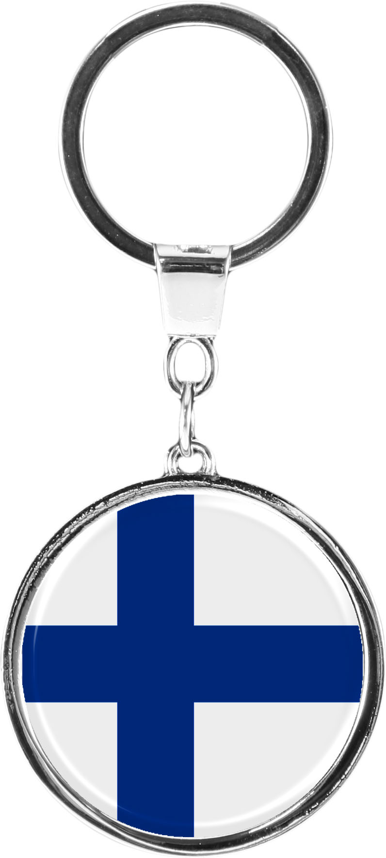 """metALUm Schlüsselanhänger in runder Form """"Flagge Finnland"""""""