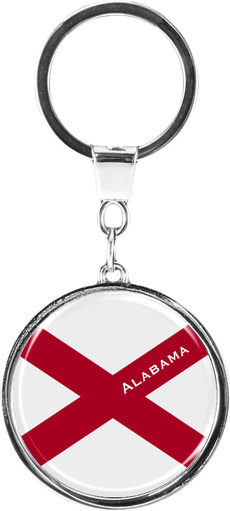 """metALUm Schlüsselanhänger in runder Form """"Flagge Alabama"""""""