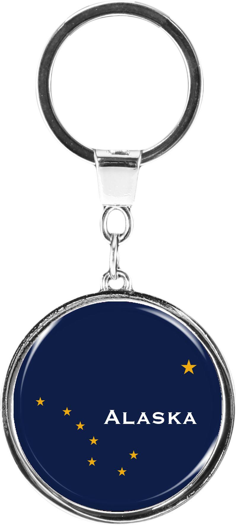 """metALUm Schlüsselanhänger in runder Form """"Flagge Alaska"""""""