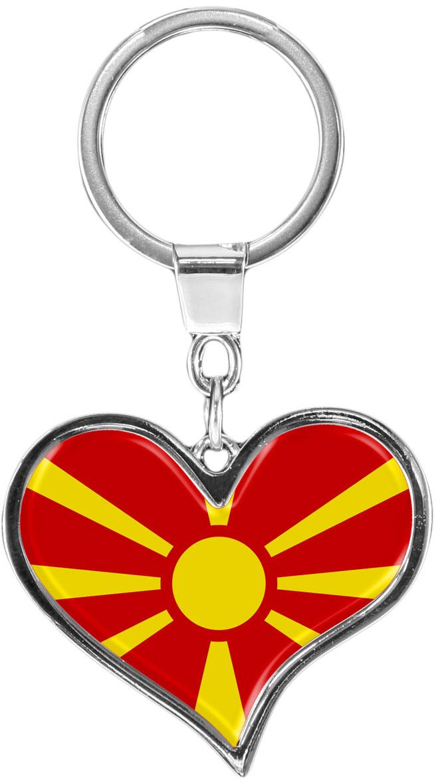 """metALUm Schlüsselanhänger in Herz - Form """"Flagge Mazedonien"""""""