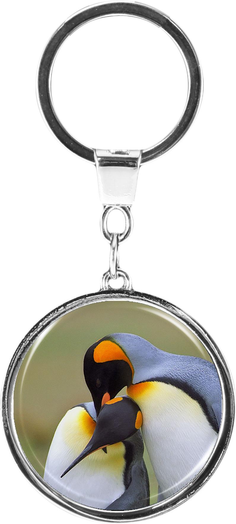 """metALUm Schlüsselanhänger in runder Form """"Pinguine"""""""