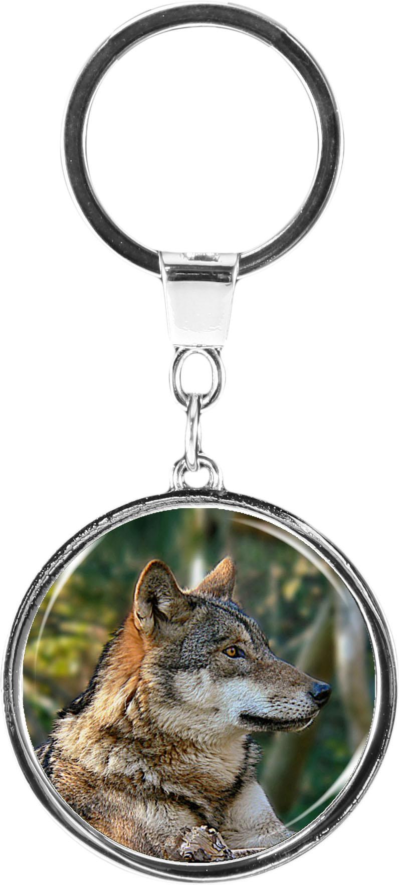 """metALUm Schlüsselanhänger in runder Form """"Wolf"""""""