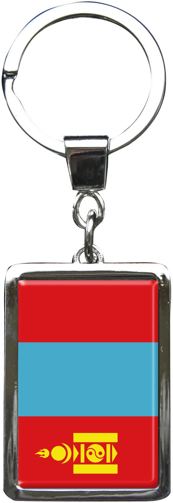 """metALUm Schlüsselanhänger in Rechteck - Form """"Flagge Mongolei"""""""