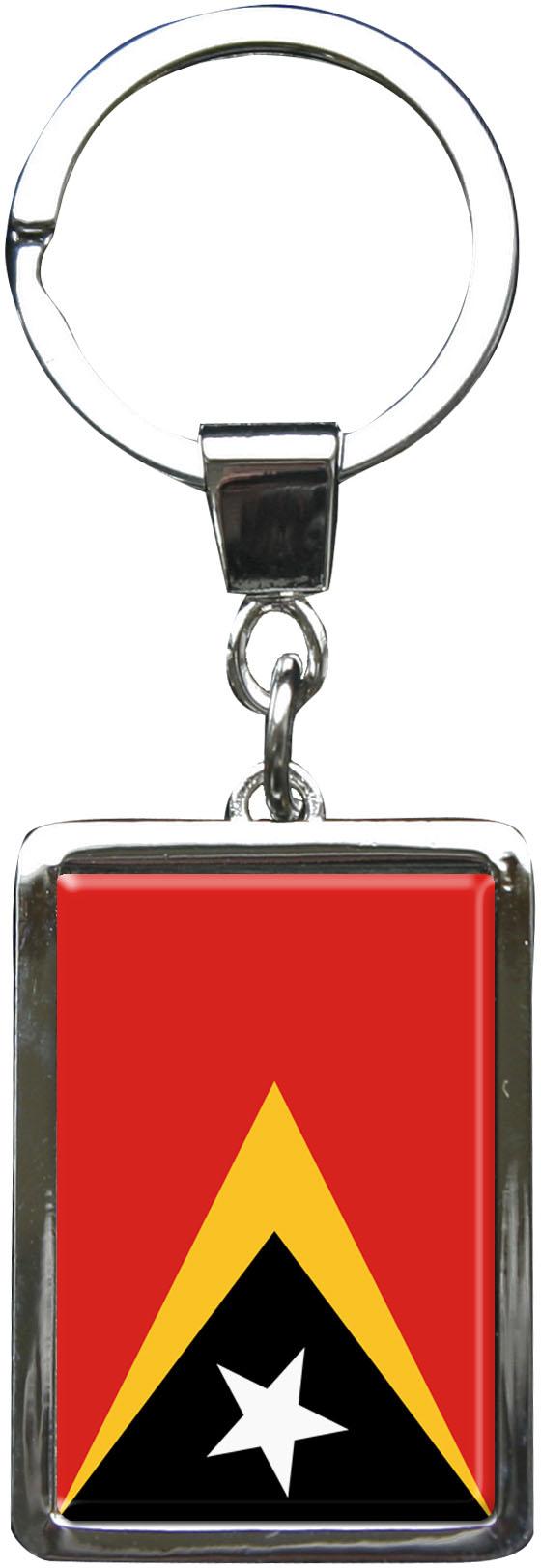 """metALUm Schlüsselanhänger in Rechteck - Form """"Flagge Ost Timor"""""""