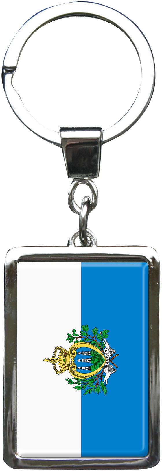 """metALUm Schlüsselanhänger in Rechteck - Form """"Flagge San Marino"""""""